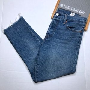 Levi's White Oak Cropped Straight Leg Jeans
